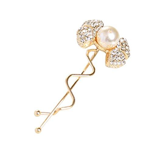Lot de 3 Motif élégant d'or Bow Tie cheveux Pins avec Diamant et