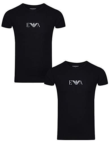 Emporio armani uomo t-shirt in cotone stretch da 2 paia, blu, medium