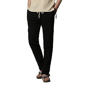 OCHENTA-Pantalones-de-lino-para-hombre-informales-con-cintura-elstica-con-cordn-cmodos-monocolor-Negro-Asitico-L-EU-S