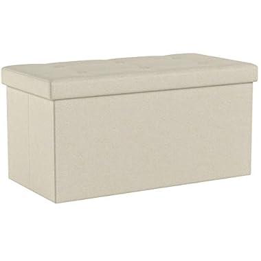 SONGMICS Sitzbank mit Stauraum, Sitztruhe, Sitzhocker, Aufbewahrungsbox, Fußablage, faltbar, belastbar bis 300 kg, 80 L, 76 x 38 x 38 cm, Leinenimitat, beige LSF47BE
