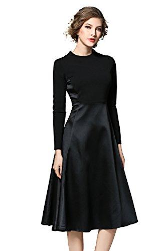 beecda7a758999 LAI MENG Damen 2 in 1 Midi Kleid mit Blumenmuster Swing Casual A-Linie  Cocktailkleid Partykleid