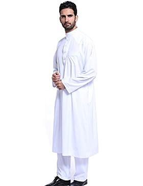 GladThink Uomini Thobe con maniche lunghe Lunghezza di vitello da indossare musulmani arabi
