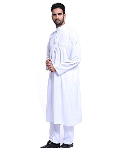 GladThink Hombres Thobe Con mangas largas Arab Muslim Wear Medio corto Blanco S