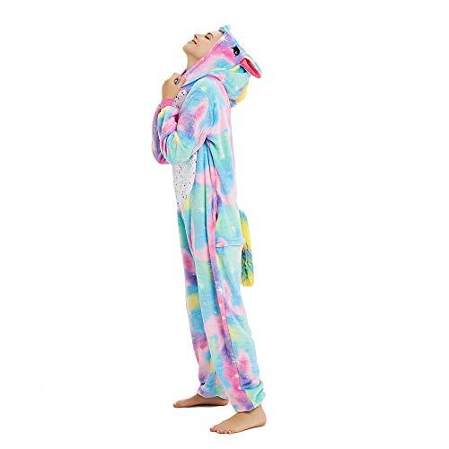 Süßes Einhorn Overalls Jumpsuits Pyjama Fleece Nachtwäsche Schlaflosigkeit Halloween Weihnachten Karneval Party Cosplay Kostüme für Unisex Kinder und Erwachsene (S, Stern Einhorn) - 3