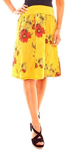 Leinen-print-rock (Fragolamoda Damen Sommer Leinenrock mit Buntem Blumen Muster Geblümt Knielang One Size Curry)