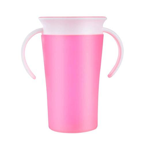 Wenwenzui-ES Baby Learning Trinkbecher 360 Grad Wasser Milch Stroh Flasche mit Griff auslaufsicher Safe Learn Drink Training Cup (Sport-flasche Griff Mit)