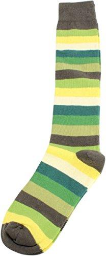 Grün / Dunkelgrün / Gelb Multi Stripe Knie High Socken von MySocks (Multi-stripe Knee Socke)