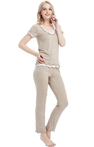kvantym Damen Einfarbige Pyjama Set, Zweiteiliger Modal Langarm Schlafanzug DESY295-S Sleeve Khaki-L -