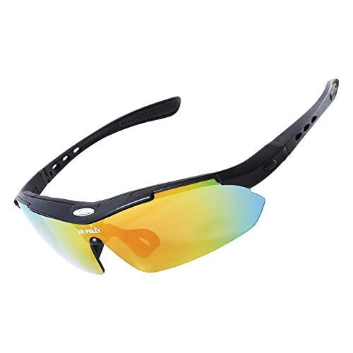 Adisaer Fahrradbrille Clear Reiten Gläser Polarisierten Outdoor Sport Bergsteigen Spiegel Radfahren Angeln Sonnenbrille Black B Damen Herren