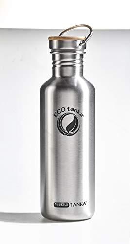 ECOtanka Trekka Tanka 1000 ml mit Edelstahl Flachverschluss aus Bambus