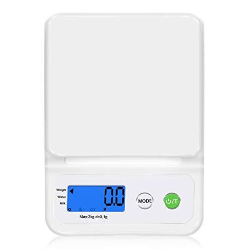 WCX Digitale Küchenwaage, 3kg/0,1g Digitale Waage Hohe Präzision Briefwaage Mit Tara-Funktion Stückzählung Funktion LCD-Display Ideal Zum Messen Von Zutaten Schmuck (Farbe : Weiß, größe : 5kg/1g)