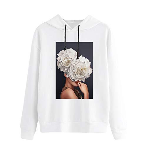 Xmiral Pullove Damen Muster Drucken Hoodie Sweatshirts Tunnelzug Lange Ärmel Oberteile Kapuzenpullover Runder Kragen Sweater Streetwear(Weiß 2,S) -