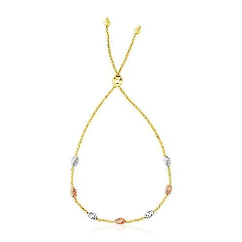 14K Tri-Color Gold Textured Oval Station Lariat Style Bracelet