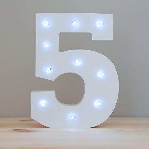 """Alphanumerische Leuchten, dekorative, weiße Holz-Zahlen mit LED-Lichtern,Zahl """"5"""""""
