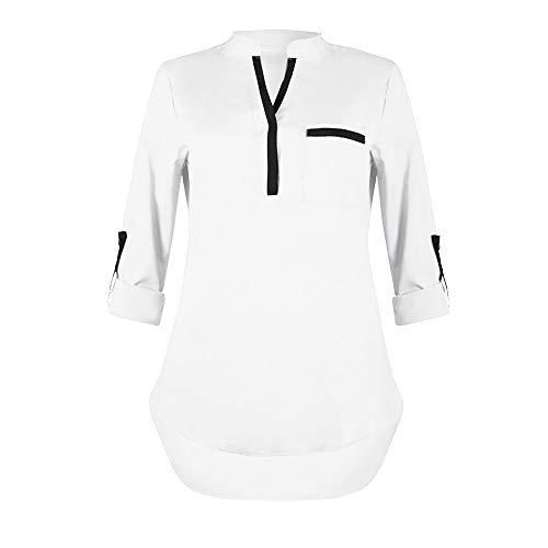 ESAILQ Frau Lässige Herbst V-Ausschnitt Tasche Langarm Tun Shirt Tops(L,Weiß) -