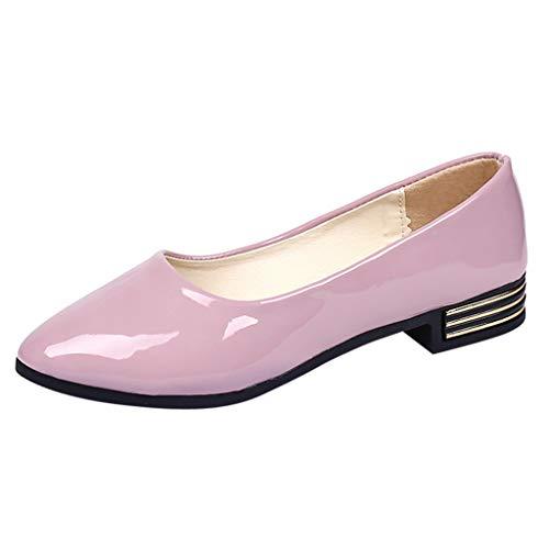 amen Womens Loafers Lackleder Driving Komfortable Wohnungen Geschlossene Zehen Slip-on Sandalen Niedriger Blockabsatz Sommer Walking Schuhgröße Weiß Rosa Rot Schwarz ()