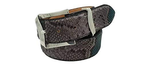Cintura in pitone unisex foderata in vera pelle cuoio nabuc con fibbia colore argento satinato- 4 cm lavorazione patchwork (grigio - azzurro, taglia 46 (32) -lunghezza totale 105 cm-girovita 9)
