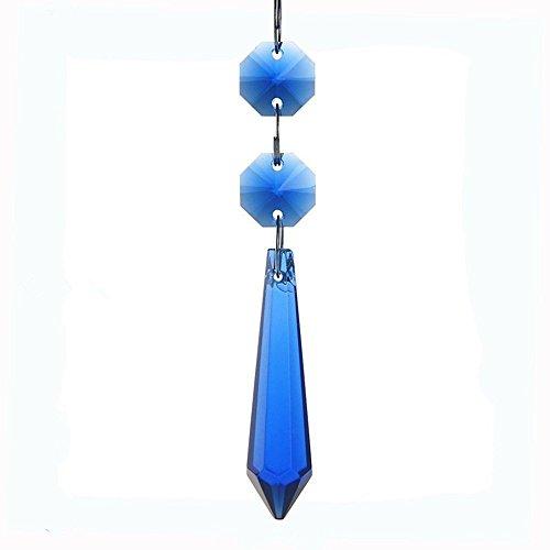 Colormax blu cobalto 55mm ghiacciolo di cristallo prismi a goccia a pendente lampada candelabro parti, confezione da 10