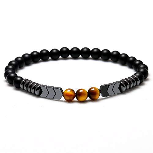 Baostic Armschmuck Trendy Natural Matte Black Onyx Beads with Tiger Eye Strand Bracelet Arrow Hematite Stone Bracelet Men Best Gift Jewelry 21cm