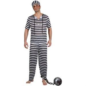 Sträfling Mann Kostüm - Ausbrecher Sträfling Gefangener Halloween Männer Verkleidung Karneval Kostüm L
