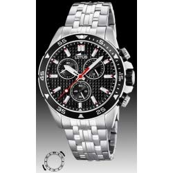 Lotus 18640/4 Men's Watch with 10 Bar Chronograph on Black Background on Metal Strap