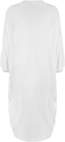 WearAll - Grande taille gilet top tricoté ouvert avec des manches chauve-souris - Hauts - Femmes - Tailles 44 à 54 Blanc