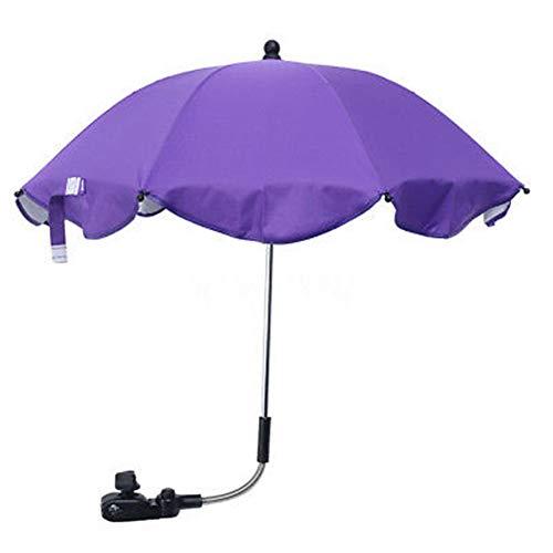 ROKFSCL Kinderwagen Sonnenschirm,Abnehmbarer Universal Kinderwagenschirm Sonnenschirm Regenschirm Sonnenschutz für Kinderwagen & Buggy(Lila)