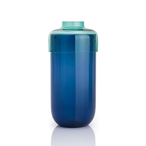 Leonardo 034486Fusione Set 2piezas. Jarrón 30cm turquesa/azul, vidrio, multicolor, 14x 14x 30cm