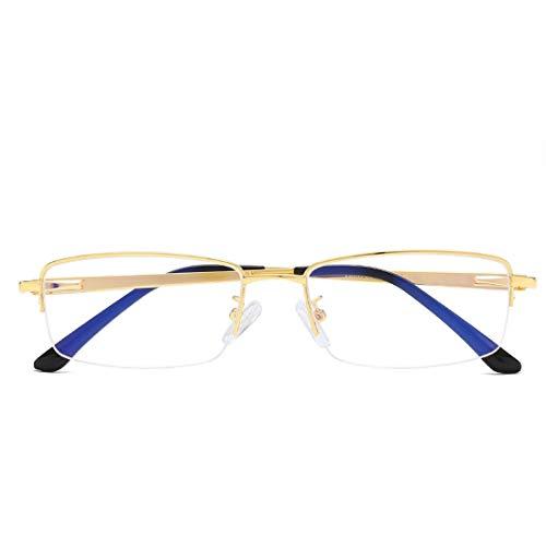Mkulxina Anti Blue Light Mode Metallrahmen Unisex Brille Computer Brille Männer (Color : Gold)