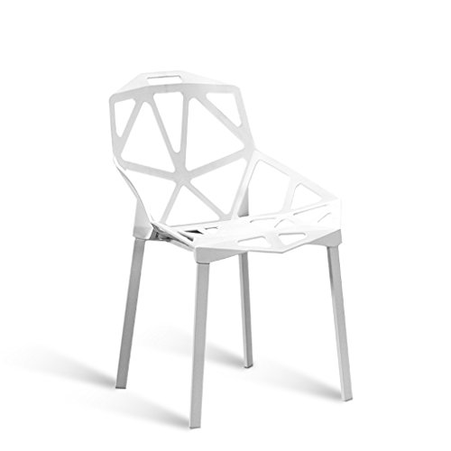 C&S Kunststoff Rückenlehne Hocker Studio Konferenzraum Stuhl Hohl Geometrische Design Komfortable Grün Blau Weiß Rot (Color : White) (Möbel Konferenzraum)