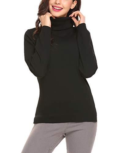 Finejo Damen Rollkragen Pullover Strickpullover Strickpulli Langarmshirt T-Shirt mit Spitzen Tops Oberteile Stehkragen Weich (XXL, Xschwarz)