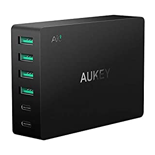AUKEY Quick Charge 3.0 USB Charger, 2 Ports with Quick charge 3.0 & 4 Ports with AiPower Tech for iPhone XR/XS/XS Max, Samsung S8, iPad Air 2/iPad Pro, Nexus, LG G5 and more