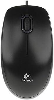Logitech B100 Maus mit Kabel, USB-Anschluss, 800 DPI Optischer Sensor, 3 Tasten, Für Links- und Rechtshänder, PC/Mac - schwa