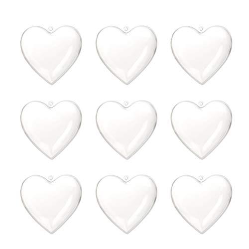 Amosfun Acrylformen Kunststoff Füllbar Teilbar Deko Herz Hänger Bastelkugel mit Aufhängeöse Hochzeit Valentinstag Hängende Dekoration 6cm 10 Stück (Transparent) -