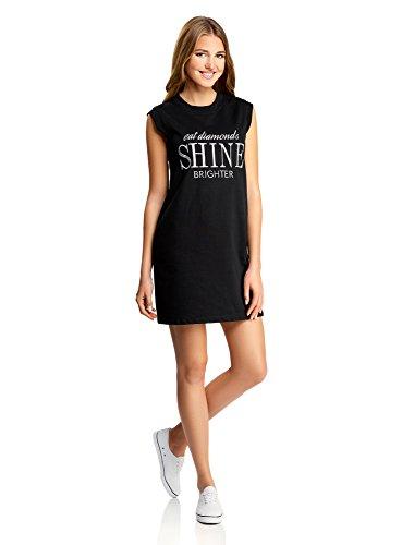 oodji Ultra Damen Jersey-Kleid mit Stickerei Schwarz (2991P)