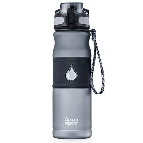 Opaza Sport Wasserflasche 530ml / 18oz, Trinkflasche Auslaufsicher, BPA-frei - Für Joggen, Radfahren, Fitnessstudio, Yoga, Outdoor und Camping (Grau, 530ml)
