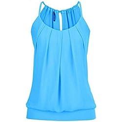 Damark(TM) Ropa Camiseta sin Mangas Tank Tops para Mujeres, Verano Sexy Deporte Casual Lace Chaleco Blusa Tops Blusas Crop Tops Vest T Shirt Fiesta en la Playa para Mujeres Chica Joven (Azul, 3XL)