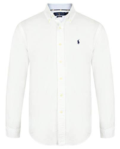 Ralph Lauren Herren Slim Fit Hemd (Weiß, M)