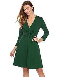 Damen Langarm Wickelkleid mit V-Ausschnitt Knielang Festlich Partykleid  Abendkleid A-Linie Kleid Cocktailkleid c8b86a313f