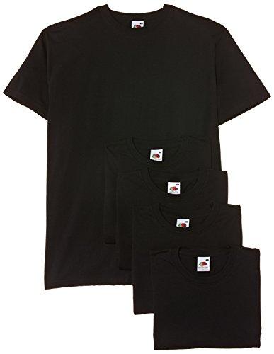 Fruit of the loom - maglietta a maniche corte da uomo, colore nero (black), taglia xl, confezione da 5