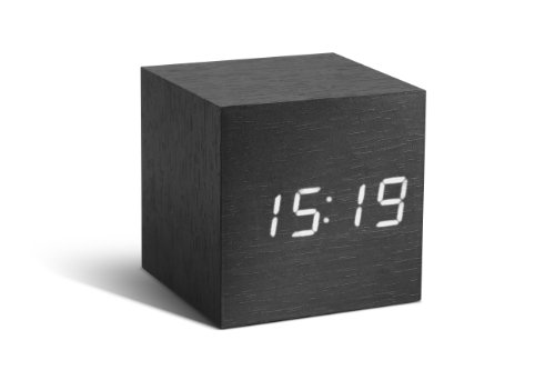Gingko GK08W10 Würfel-Digitaluhr \'Click Clock\' Schwarz mit weißer LED-Anzeige