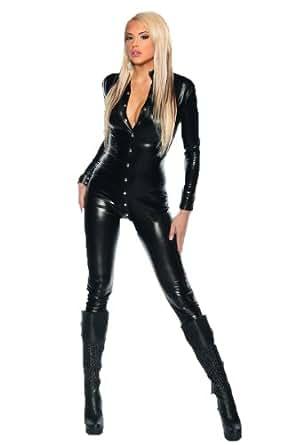 schwarzer wetlook overall damen schwarz xs m sexy einteiler eng bekleidung. Black Bedroom Furniture Sets. Home Design Ideas