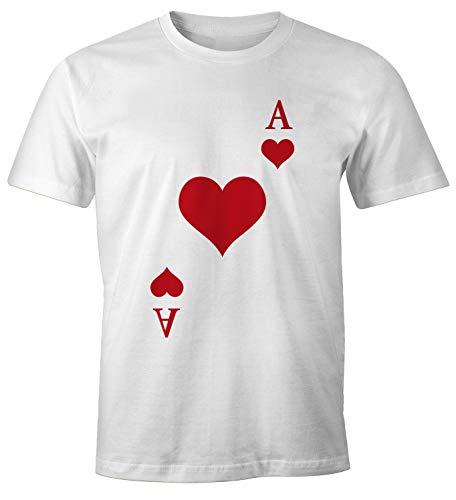 Kostüm Herz Ass Karte - MoonWorks® Herren T-Shirt Kartenspiel Kostüm Spielkarten Gruppenkostüm Karten Fasching Karneval Faschingsshirt Herz Ass weiß M