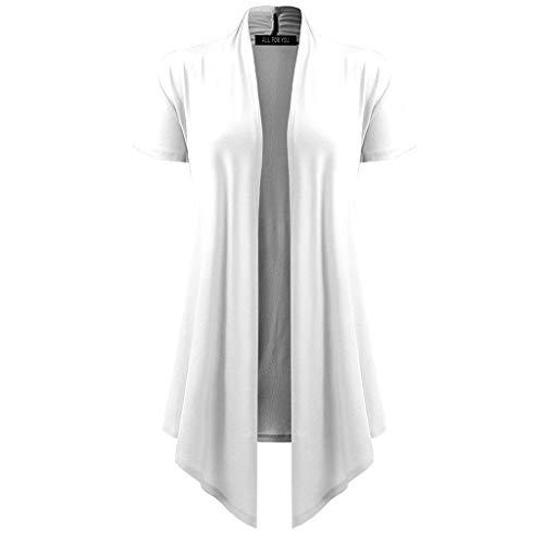 Markthym Damen Damen Soft Drape Cardigan Kurzarm Smock Sun Wear Bluse Tops Kleidung Damen Kurzarm einfarbig lässige Strickjacke Bluse - Gestreifte Wrap Cardigan