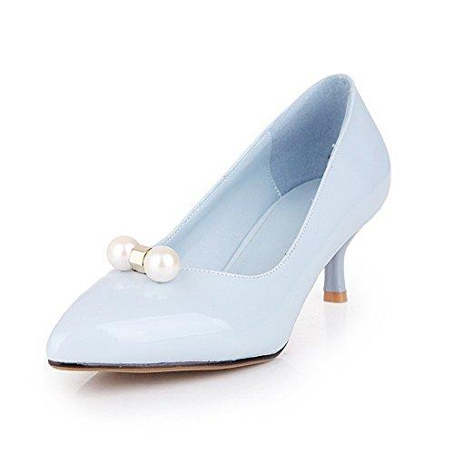 AllhqFashion Femme Couleur Unie Pu Cuir à Talon Correct Tire Pointu Chaussures Légeres Bleu