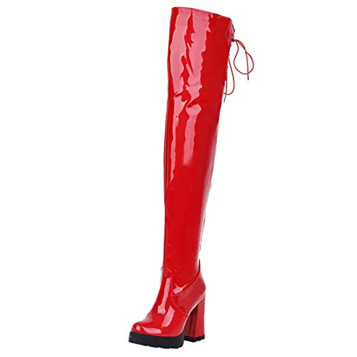 Artfaerie Damen Stiefel Lack Overknee High Heel Boots Blockabsatz mit Reißverschluss 10cm Absatz
