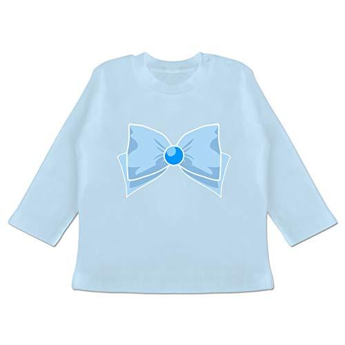 Karneval und Fasching Baby - Superheld Manga Merkur Kostüm - 12-18 Monate - Babyblau - BZ11 - Baby T-Shirt Langarm (Lustige Superhelden Kostüme Ideen)