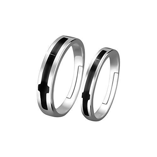 Wikimiu anello coppia regolabile, regalo per gli amanti per san valentino compleanno e feste, uomo + donna