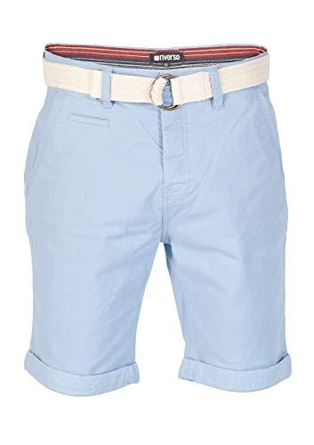 riverso Herren Chino Shorts Henry Mit Gürtel Bermuda Kurze Hose - hellblau - dunkelblau - rot - grün, Größe:W 33, Farbe:Sky Blue (19200) Blau-grüne Hose