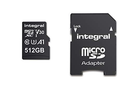 Integral 512GB Memoria Flash MicroSDXC Clase 10 UHS-I - Tarjeta de Memoria (512 GB, MicroSDXC, Clase 10, UHS-I, 90 MB/s, Negro)